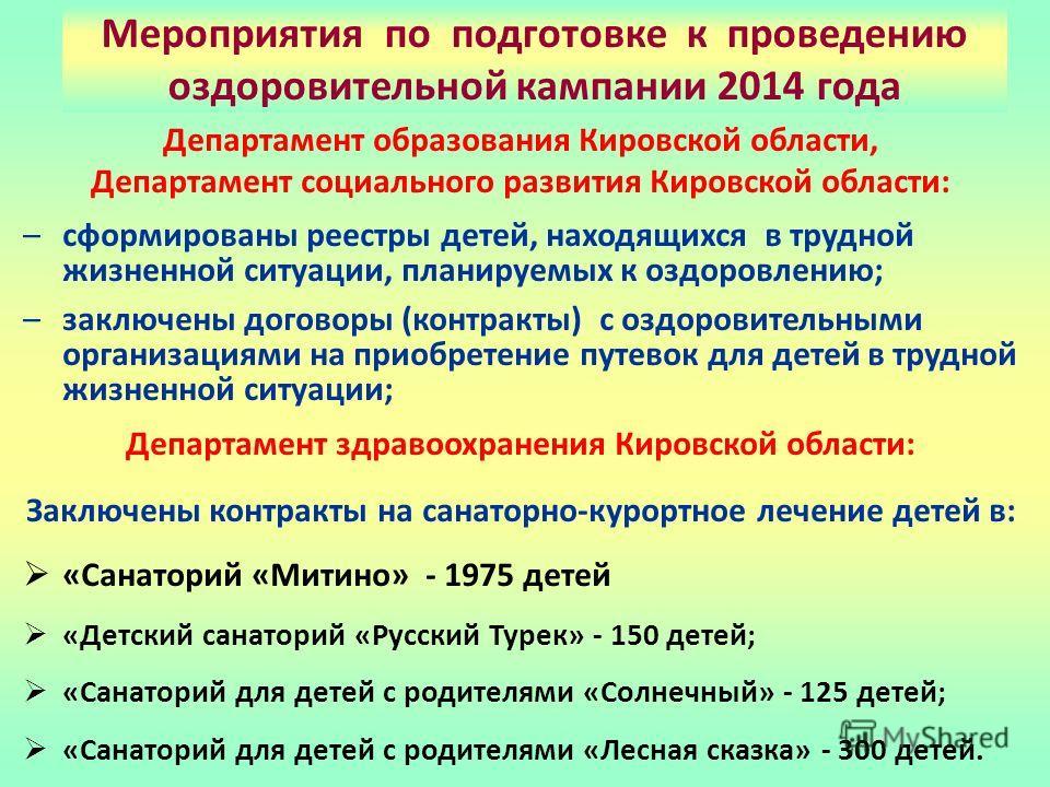 Департамент образования Кировской области, Департамент социального развития Кировской области: –сформированы реестры детей, находящихся в трудной жизненной ситуации, планируемых к оздоровлению; –заключены договоры (контракты) с оздоровительными орган
