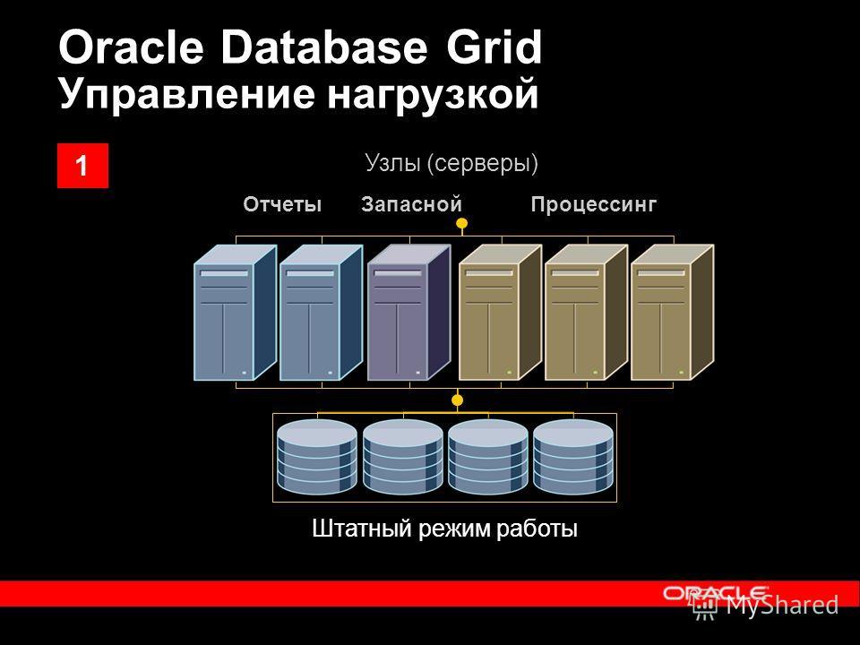 Oracle Database Grid Управление нагрузкой Штатный режим работы ОтчетыПроцессингЗапасной Узлы (серверы) 1