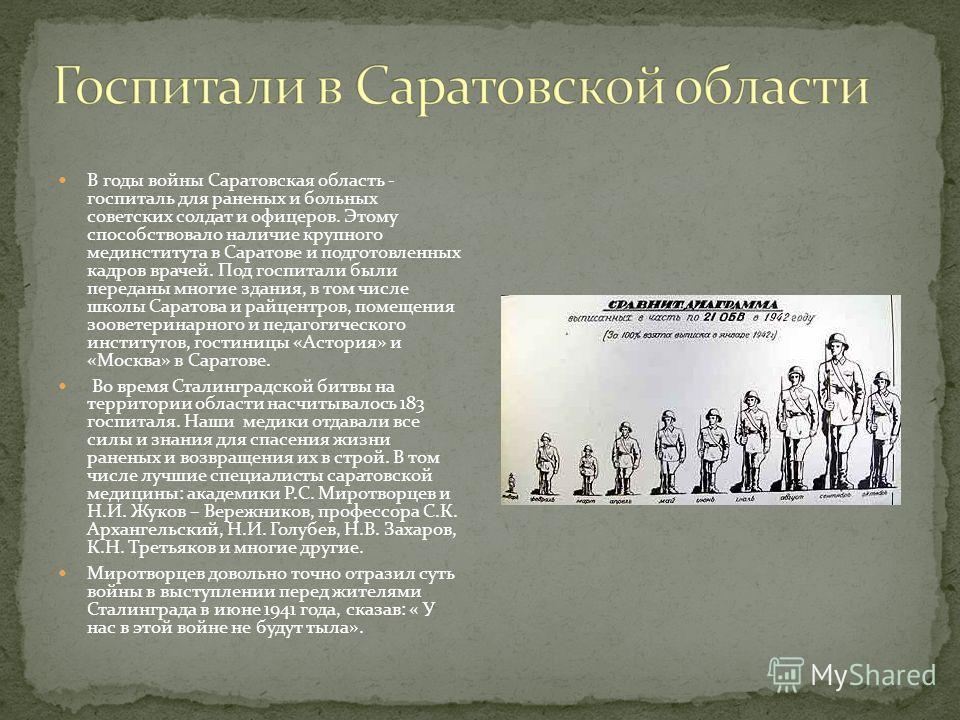 В годы войны Саратовская область - госпиталь для раненых и больных советских солдат и офицеров. Этому способствовало наличие крупного мединститута в Саратове и подготовленных кадров врачей. Под госпитали были переданы многие здания, в том числе школы
