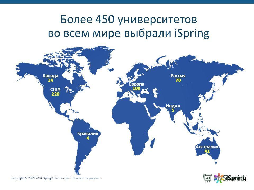 Copyright © 2005-2014 iSpring Solutions, Inc. Все права защищены. Более 450 университетов во всем мире выбрали iSpring Россия 70 Австралия 41 Европа 108 Индия 5 Бразилия 4 Канада 14 США 220