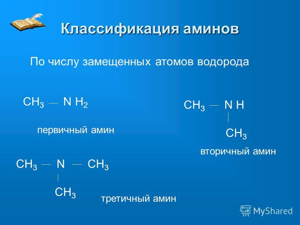 Классификация аминов По числу замещенных атомов водорода CH 3 N H 2 первичный амин CH 3 N H CH 3 вторичный амин CH 3 N CH 3 CH 3 третичный амин