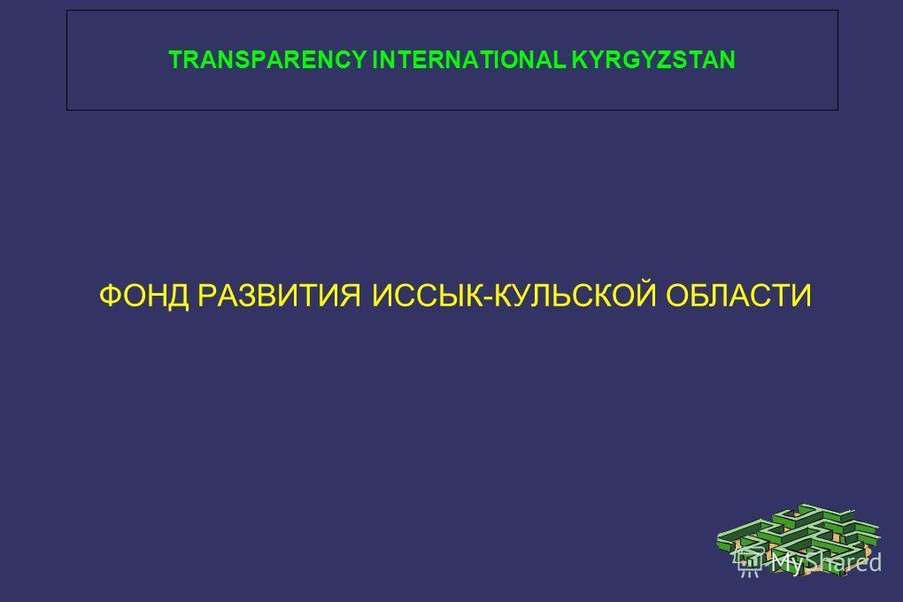 TRANSPARENCY INTERNATIONAL KYRGYZSTAN ФОНД РАЗВИТИЯ ИССЫК-КУЛЬСКОЙ ОБЛАСТИ