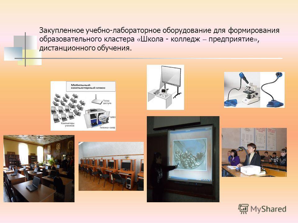 Закупленное учебно-лабораторное оборудование для формирования образовательного кластера « Школа - колледж – предприятие », дистанционного обучения.