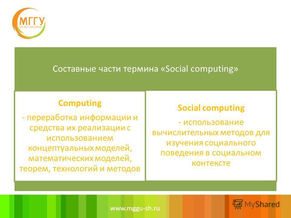 www.mggu-sh.ru Составные части термина «Social computing» Computing - переработкa информации и средства их реализации с использованием концептуальных моделей, математических моделей, теорем, технологий и методов Social сomputing - использование вычис