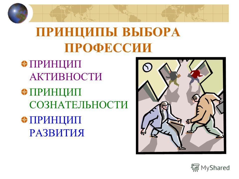 ЧЕЛОВЕК ВЫБИРАЮЩИЙ ПРОФЕCСИЮ, ДОЛЖЕН РУКОВОДСТВО- ВАТЬСЯ СЛЕДУЮЩИМИ ПРИНЦИПАМИ: