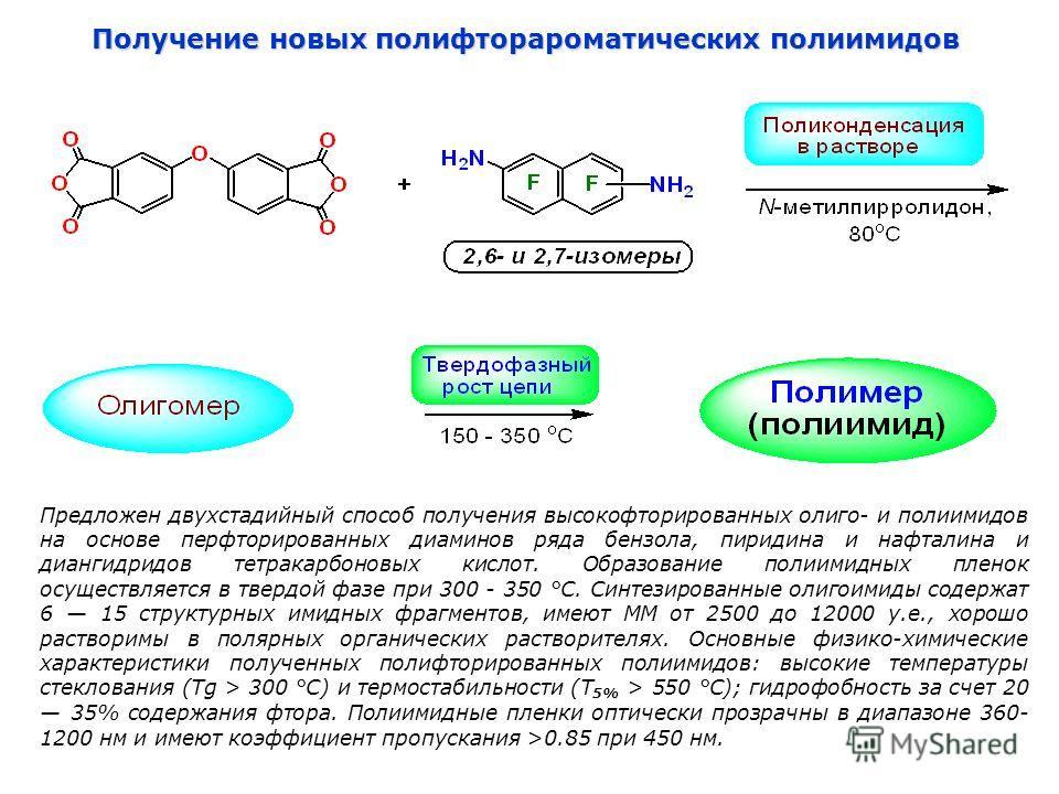 Получение новых полифторароматических полиимидов Предложен двухстадийный способ получения высокофторированных олиго- и полиимидов на основе перфторированных диаминов ряда бензола, пиридина и нафталина и диангидридов тетракарбоновых кислот. Образовани