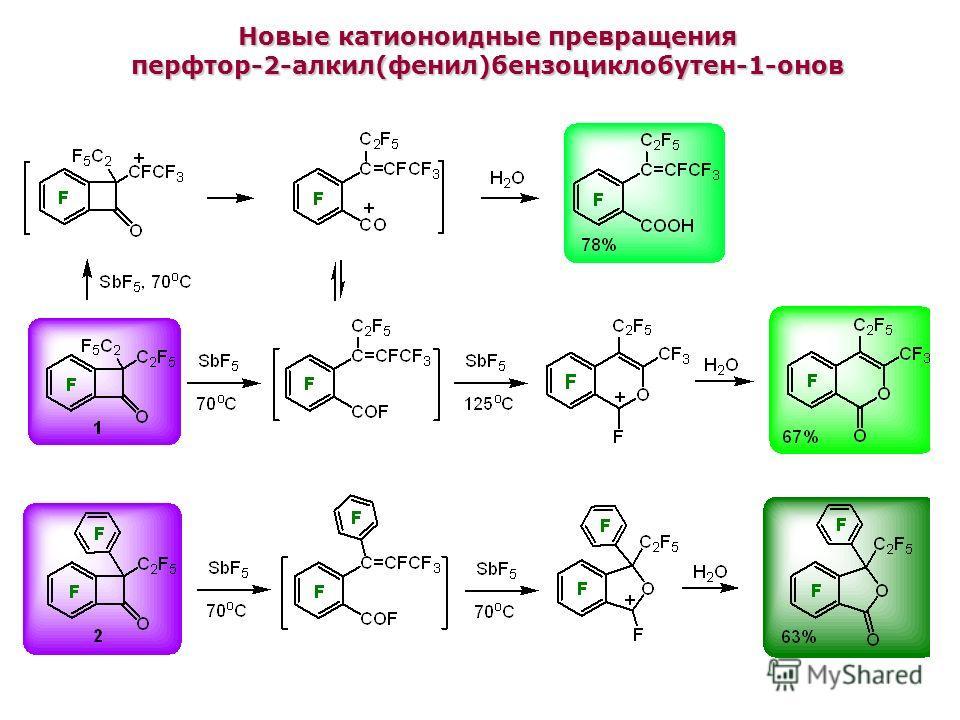 Новые катионоидные превращения перфтор-2-алкил(фенил)бензоциклобутен-1-онов