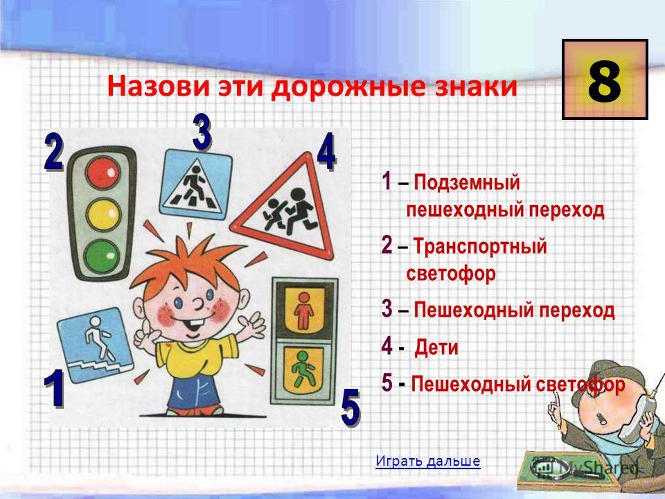 Играть дальше Назови эти дорожные знаки 1 – Подземный пешеходный переход 2 – Транспортный светофор 3 – Пешеходный переход 4 - Дети 5 - Пешеходный светофор 8