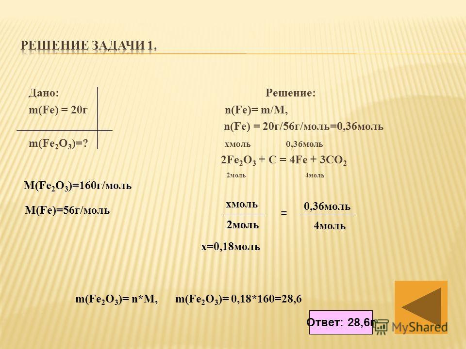 Дано: Решение: m(Fe) = 20г n(Fe)= m/M, n(Fe) = 20г/56г/моль=0,36моль m(Fe 2 O 3 )=? хмоль 0,36моль 2Fe 2 O 3 + C = 4Fe + 3CO 2 2моль 4моль хмоль 2моль = 0,36моль 2моль 4моль х=0,18моль M(Fe 2 O 3 )=160г/моль M(Fe)=56г/моль m(Fe 2 O 3 )= n*M, m(Fe 2 O