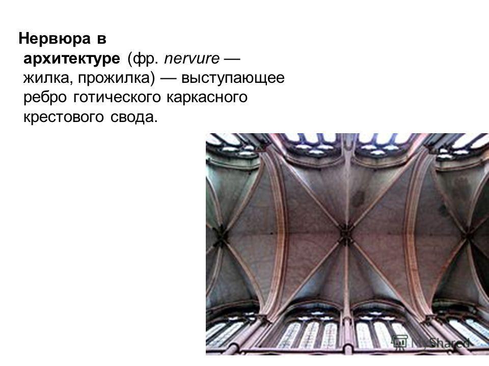 Нервюра в архитектуре (фр. nervure жилка, прожилка) выступающее ребро готического каркасного крестового свода.