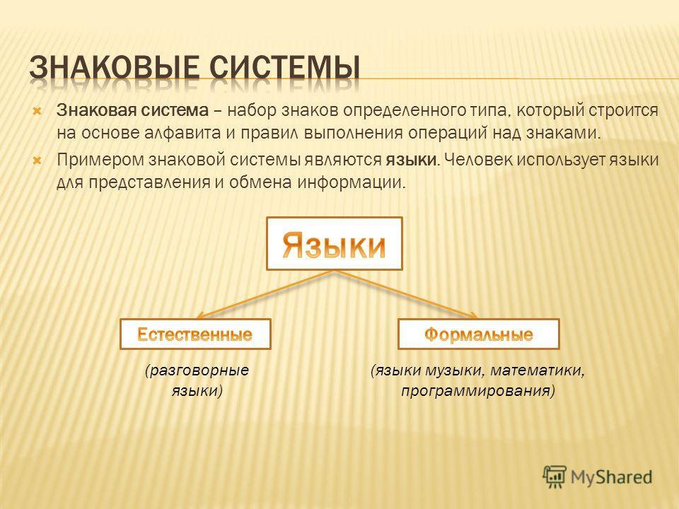 Знаковая система – набор знаков определенного типа, который строится на основе алфавита и правил выполнения операции ̆ над знаками. Примером знаковой системы являются языки. Человек использует языки для представления и обмена информации. (разговорные