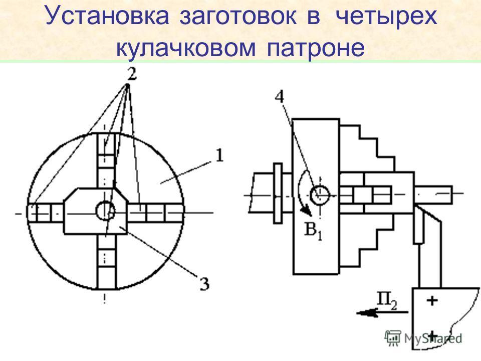 Установка заготовок в четырех кулачковом патроне