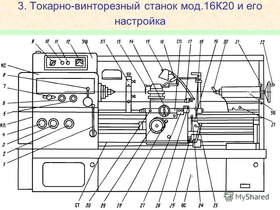 3. Токарно-винторезный станок мод.16К20 и его настройка