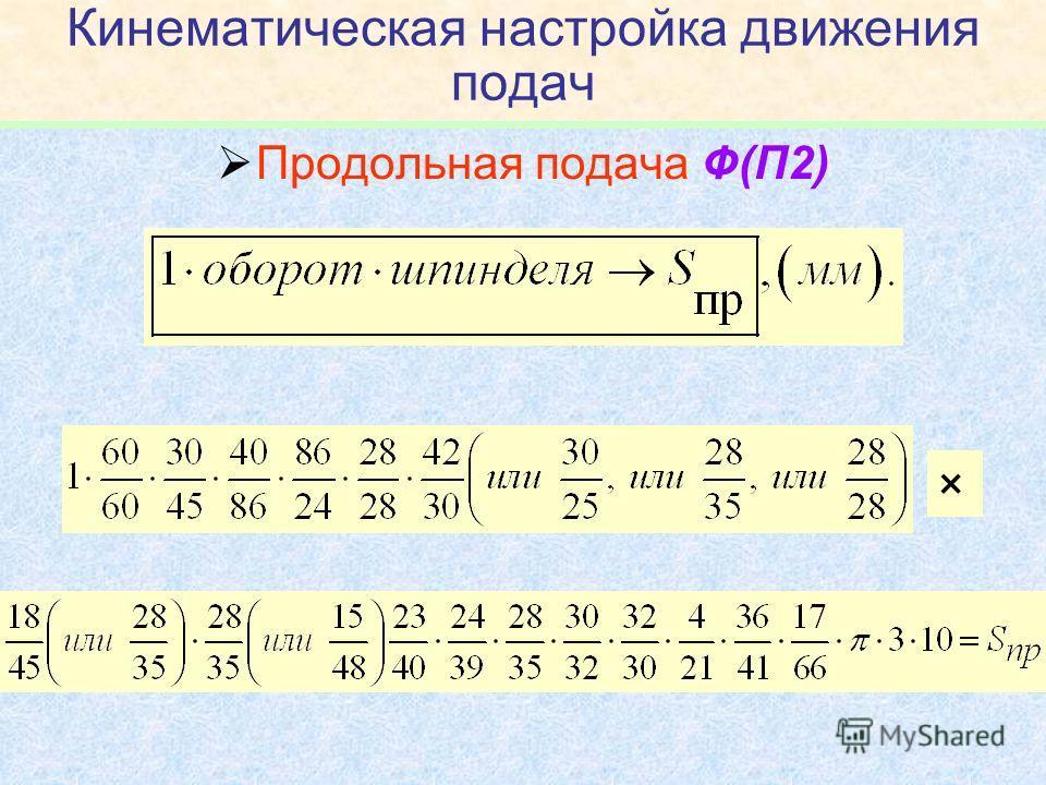 Кинематическая настройка движения подач Продольная подача Ф(П2) ×