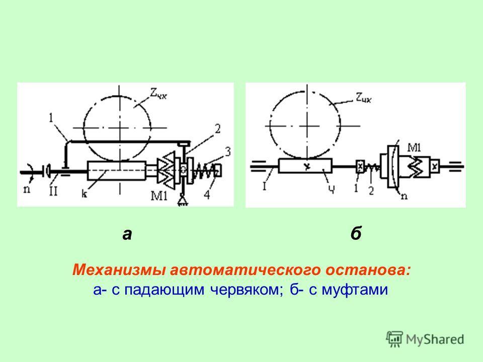 аб Механизмы автоматического останова: а- с падающим червяком; б- с муфтами