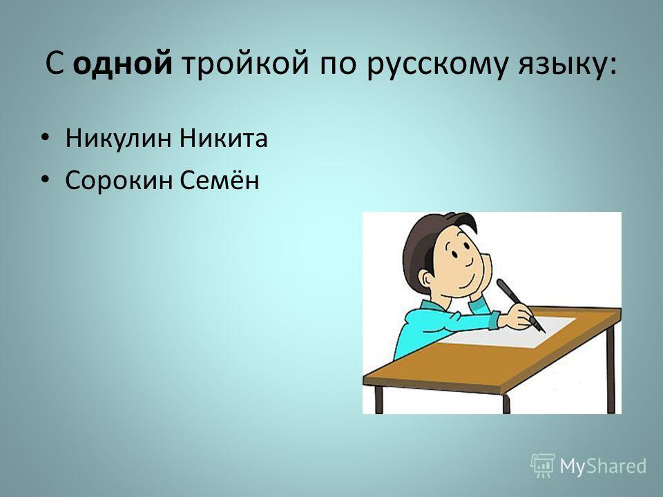 С одной тройкой по русскому языку: Никулин Никита Сорокин Семён