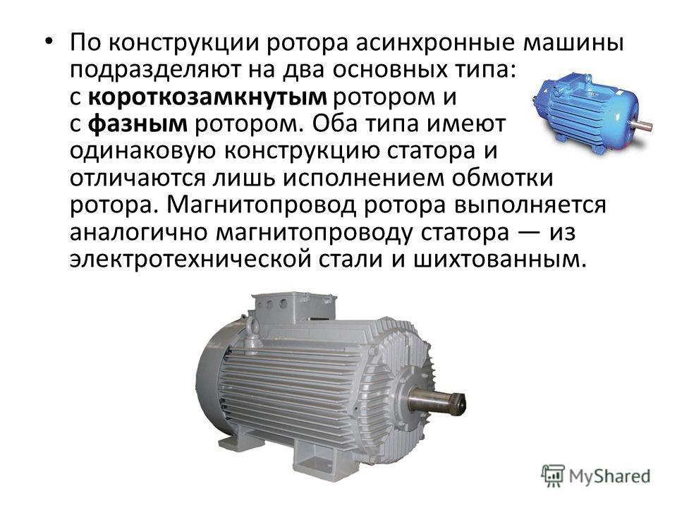 По конструкции ротора асинхронные машины подразделяют на два основных типа: с короткозамкнутым ротором и с фазным ротором. Оба типа имеют одинаковую конструкцию статора и отличаются лишь исполнением обмотки ротора. Магнитопровод ротора выполняется ан