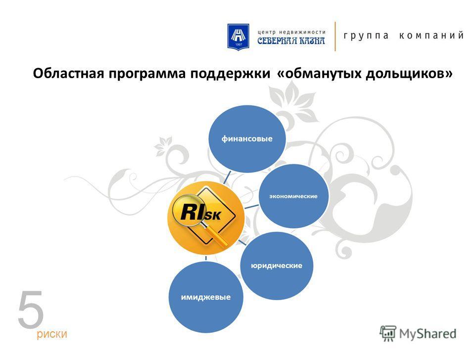 Областная программа поддержки «обманутых дольщиков» риски 5