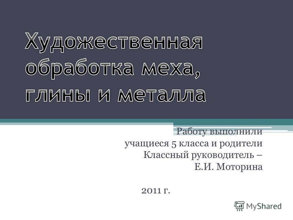 Работу выполнили учащиеся 5 класса и родители Классный руководитель – Е.И. Моторина 2011 г.