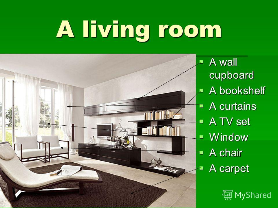 A living room A living room A wall cupboard A wall cupboard A bookshelf A bookshelf A curtains A curtains A TV set A TV set Window Window A chair A chair A carpet A carpet