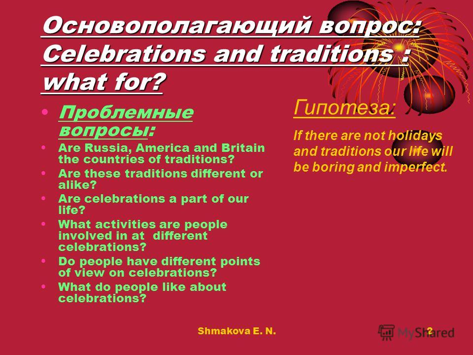 Shmakova E. N.2 Основополагающий вопрос: Celebrations and traditions : what for? Проблемные вопросы: Are Russia, America and Britain the countries of traditions? Are these traditions different or alike? Are celebrations a part of our life? What activ