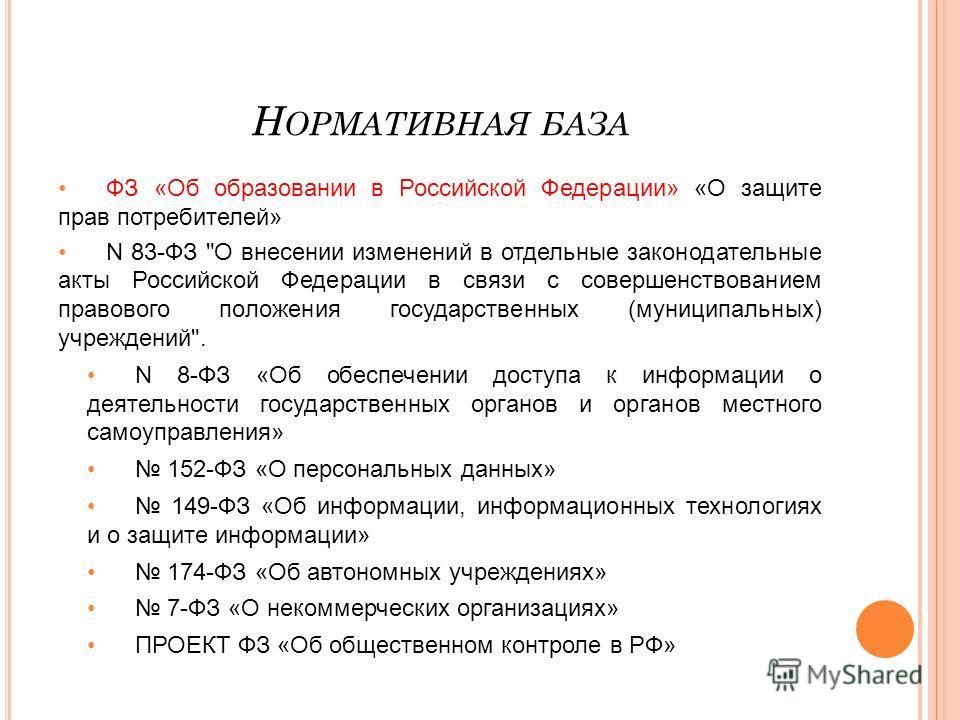 Н ОРМАТИВНАЯ БАЗА ФЗ «Об образовании в Российской Федерации» «О защите прав потребителей» N 83-ФЗ