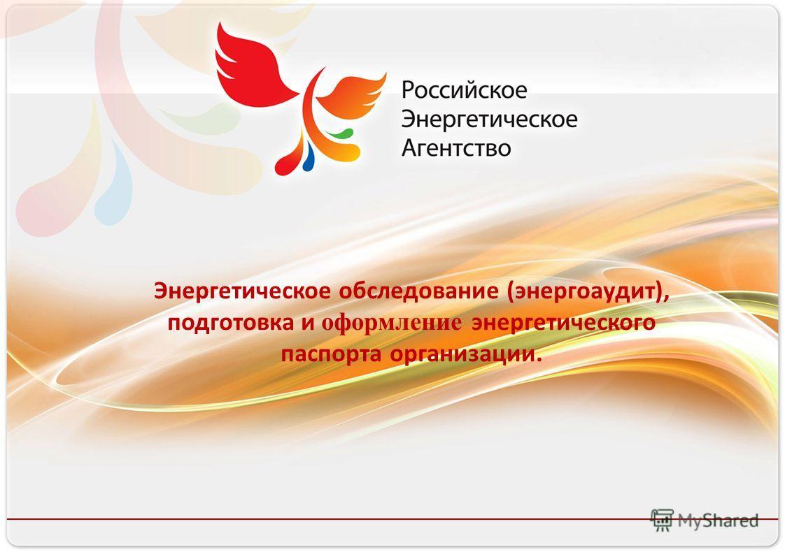 Российское энергетическое агентство Энергетическое обследование (энергоаудит), подготовка и оформление энергетического паспорта организации.