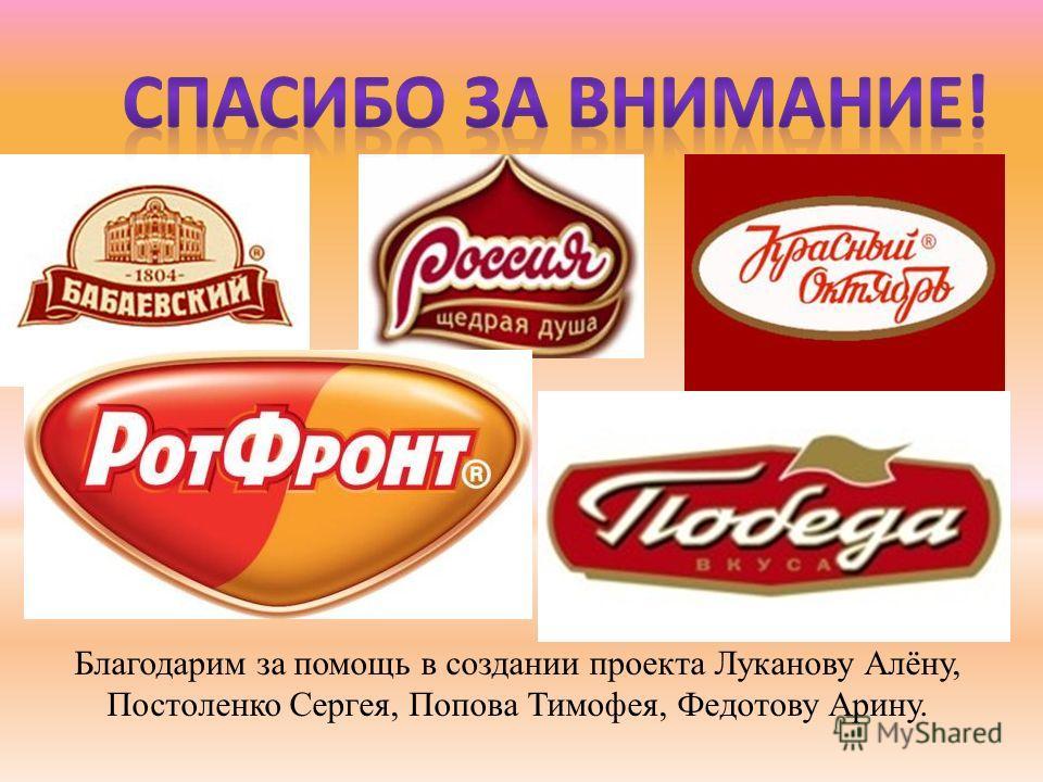 Благодарим за помощь в создании проекта Луканову Алёну, Постоленко Сергея, Попова Тимофея, Федотову Арину.