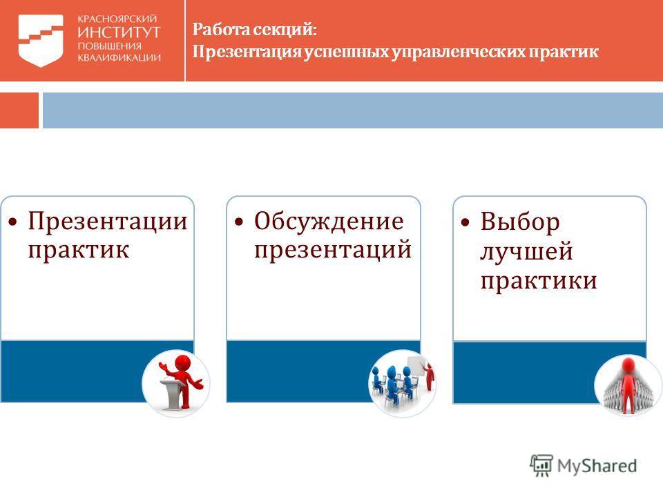 Работа секций: Презентация успешных управленческих практик Презентации практик Обсуждение презентаций Выбор лучшей практики