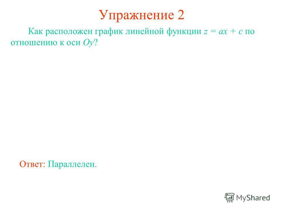 Упражнение 2 Как расположен график линейной функции z = ax + c по отношению к оси Oy? Ответ: Параллелен.