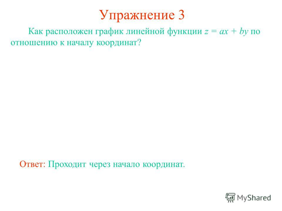 Упражнение 3 Как расположен график линейной функции z = ax + by по отношению к началу координат? Ответ: Проходит через начало координат.