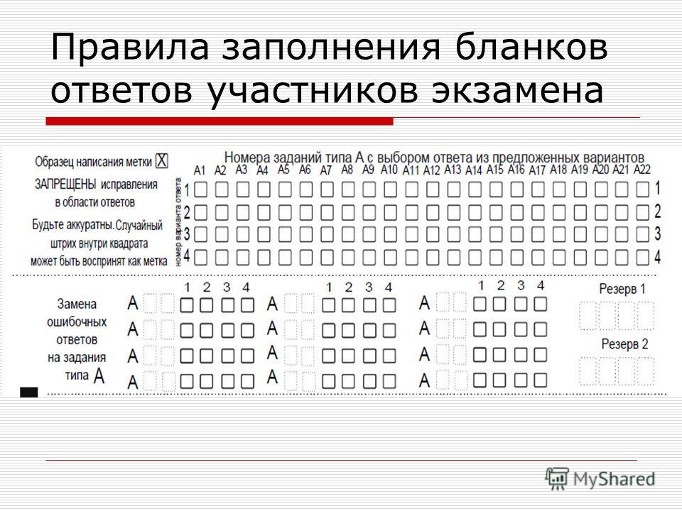 Правила заполнения бланков ответов участников экзамена