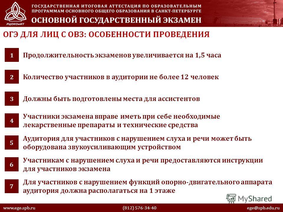 ОГЭ ДЛЯ ЛИЦ С ОВЗ: ОСОБЕННОСТИ ПРОВЕДЕНИЯ Продолжительность экзаменов увеличивается на 1,5 часа 1 Количество участников в аудитории не более 12 человек 2 www.ege.spb.ru (812) 576-34-40 ege@spb.edu.ru Должны быть подготовлены места для ассистентов 3 У