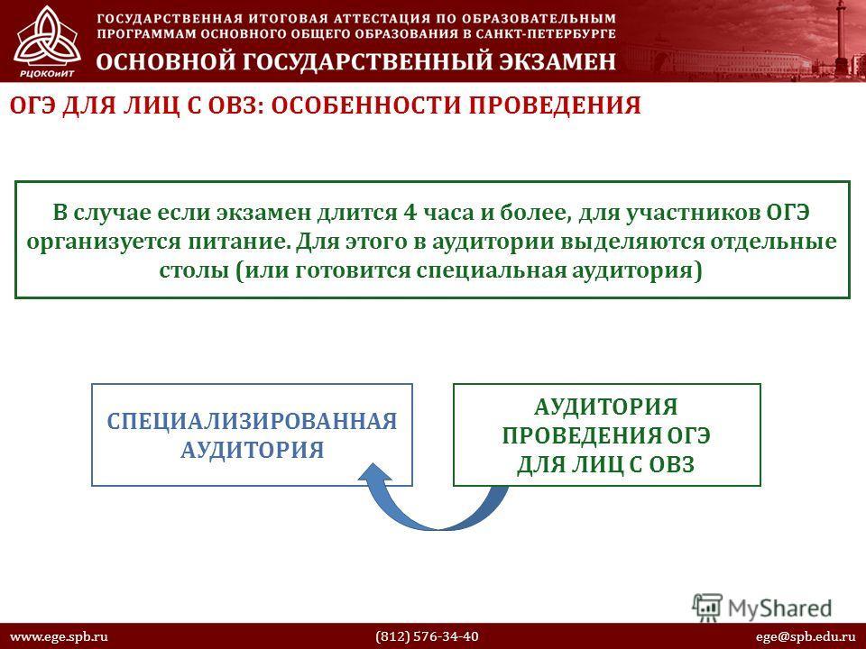 ОГЭ ДЛЯ ЛИЦ С ОВЗ: ОСОБЕННОСТИ ПРОВЕДЕНИЯ www.ege.spb.ru (812) 576-34-40 ege@spb.edu.ru В случае если экзамен длится 4 часа и более, для участников ОГЭ организуется питание. Для этого в аудитории выделяются отдельные столы (или готовится специальная