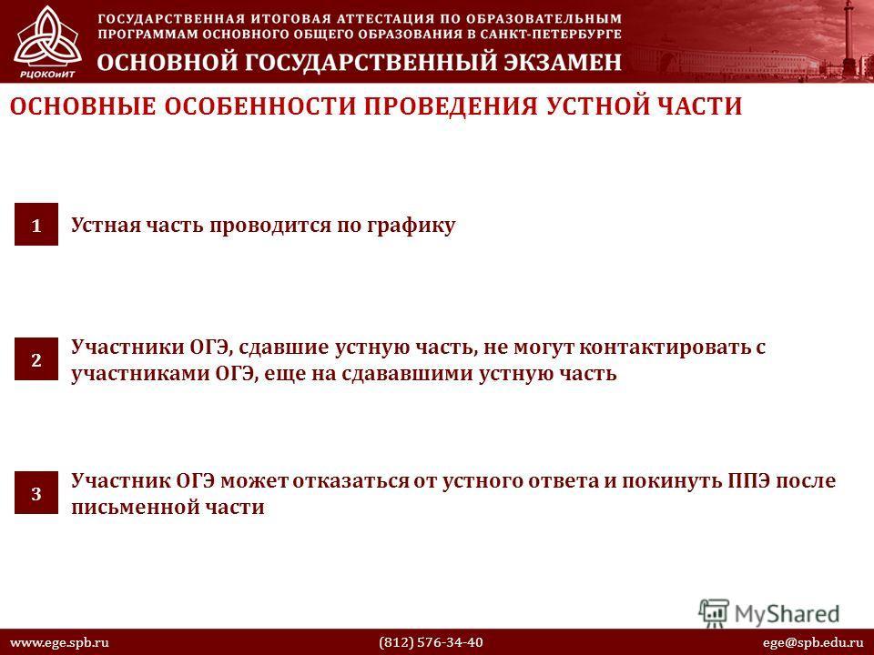 www.ege.spb.ru (812) 576-34-40 ege@spb.edu.ru ОСНОВНЫЕ ОСОБЕННОСТИ ПРОВЕДЕНИЯ УСТНОЙ ЧАСТИ Устная часть проводится по графику 1 Участники ОГЭ, сдавшие устную часть, не могут контактировать с участниками ОГЭ, еще на сдававшими устную часть 2 Участник