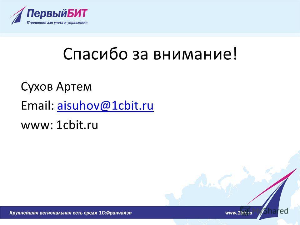 Спасибо за внимание! Сухов Артем Email: aisuhov@1cbit.ruaisuhov@1cbit.ru www: 1cbit.ru
