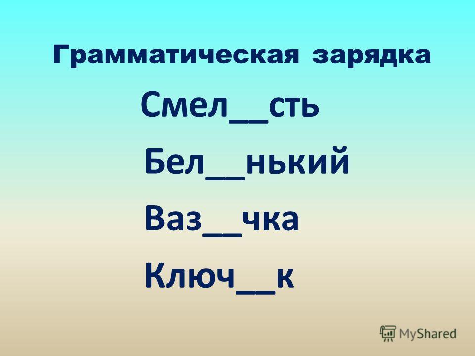 Грамматическая зарядка Смел__сть Бел__нький Ваз__чка Ключ__к