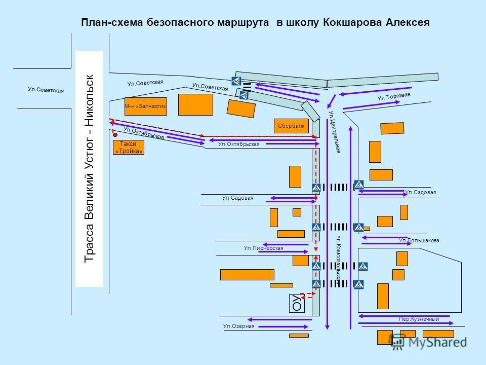 План-схема безопасного маршрута в школу Кокшарова Алексея