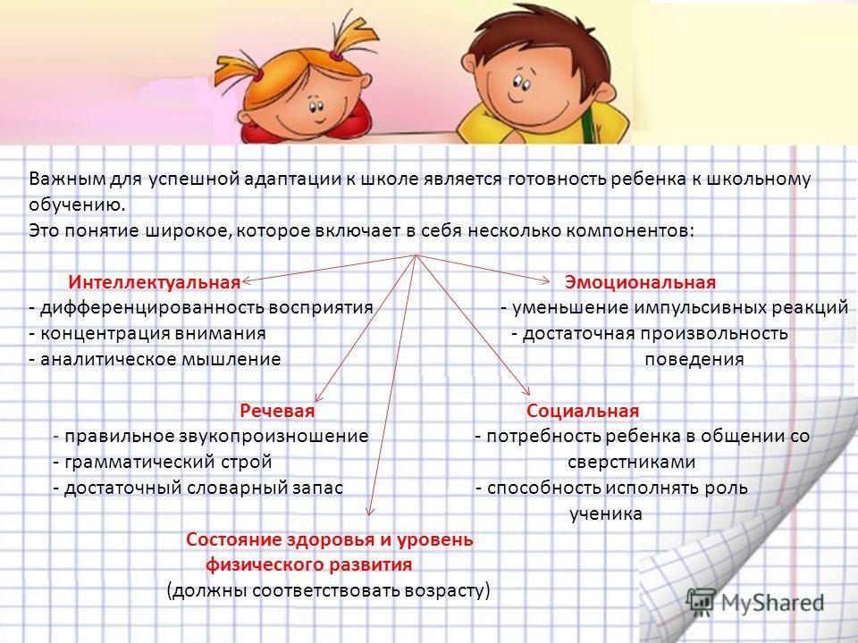 Важным для успешной адаптации к школе является готовность ребенка к школьному обучению. Это понятие широкое, которое включает в себя несколько компонентов: Интеллектуальная Эмоциональная - дифференцированность восприятия - уменьшение импульсивных реа