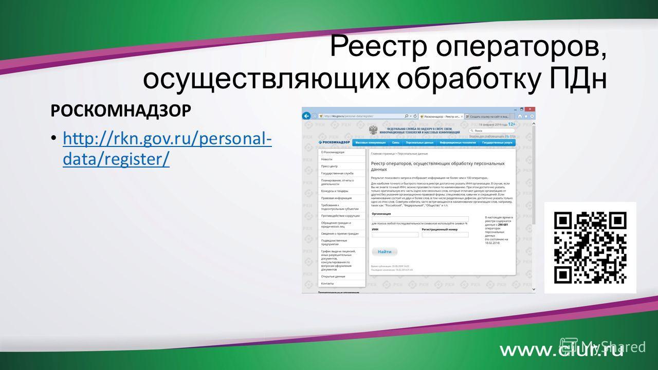 Реестр операторов, осуществляющих обработку ПДн РОСКОМНАДЗОР http://rkn.gov.ru/personal- data/register/ http://rkn.gov.ru/personal- data/register/
