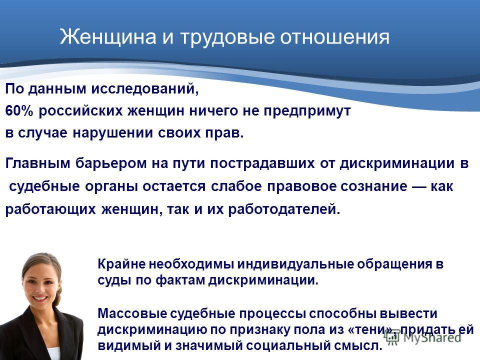 Женщина и трудовые отношения По данным исследований, 60% российских женщин ничего не предпримут в случае нарушении своих прав. Главным барьером на пути пострадавших от дискриминации в судебные органы остается слабое правовое сознание как работающих ж