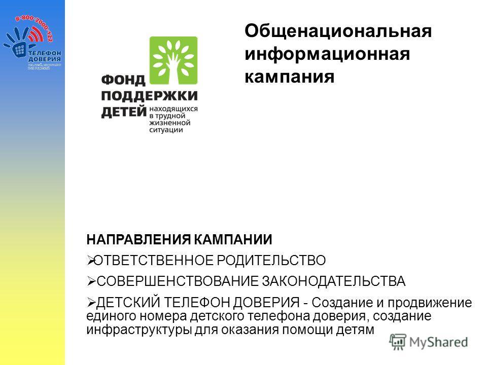 Общенациональная информационная кампания Противодействие жестокому обращению с детьми НАПРАВЛЕНИЯ КАМПАНИИ ОТВЕТСТВЕННОЕ РОДИТЕЛЬСТВО СОВЕРШЕНСТВОВАНИЕ ЗАКОНОДАТЕЛЬСТВА ДЕТСКИЙ ТЕЛЕФОН ДОВЕРИЯ - Создание и продвижение единого номера детского телефона
