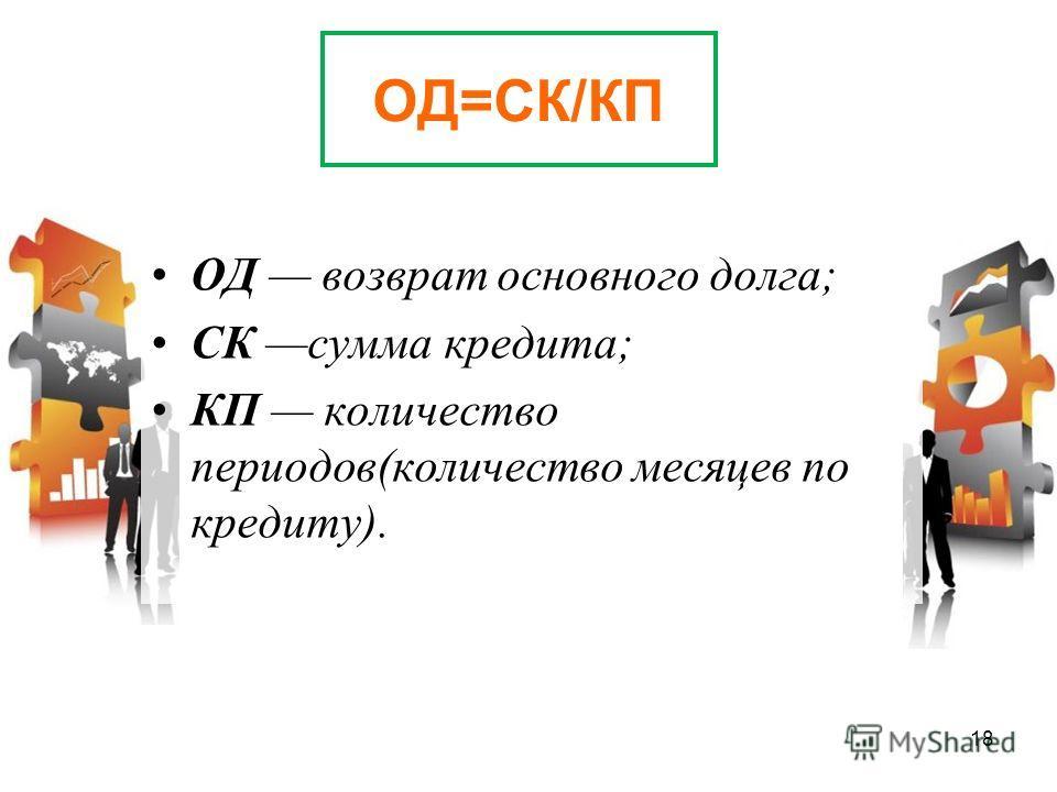 ОД=СК/КП ОД возврат основного долга; СК сумма кредита; КП количество периодов(количество месяцев по кредиту). 18