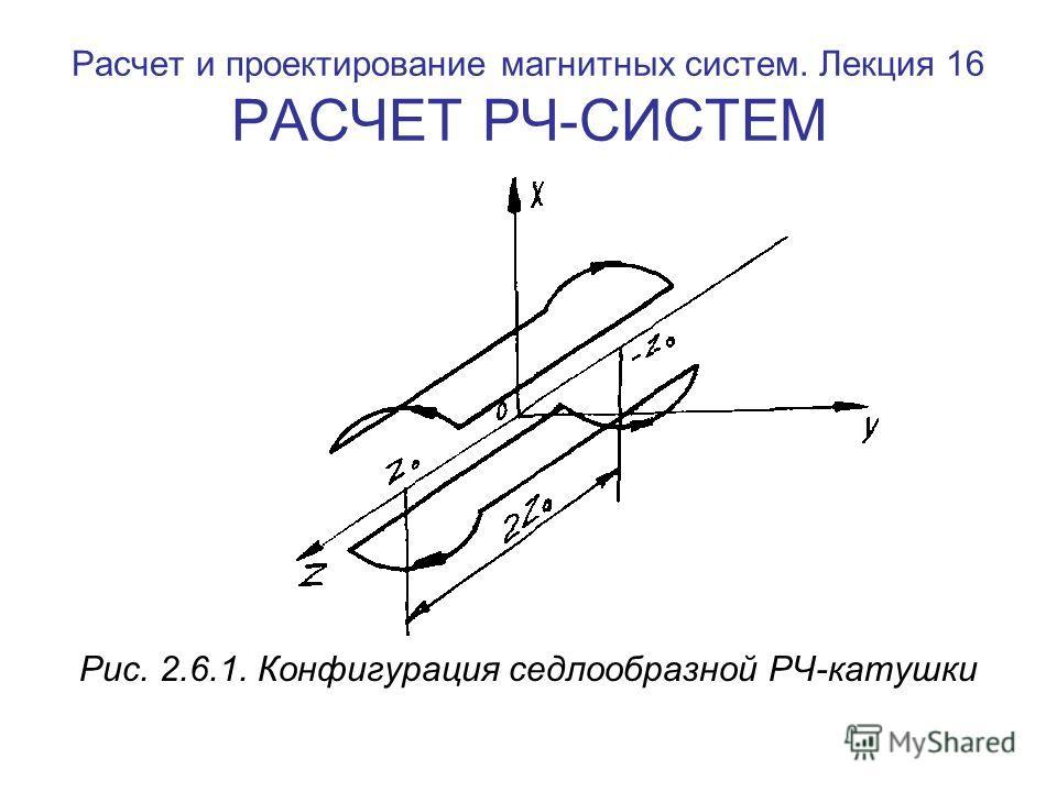 Расчет и проектирование магнитных систем. Лекция 16 РАСЧЕТ РЧ-СИСТЕМ Рис. 2.6.1. Конфигурация седлообразной РЧ-катушки