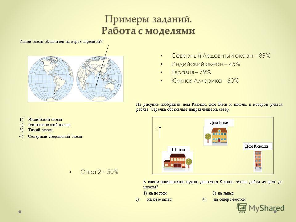 Примеры заданий. Работа с моделями Ответ 2 – 50% Северный Ледовитый океан – 89% Индийский океан – 45% Евразия – 79% Южная Америка – 60%