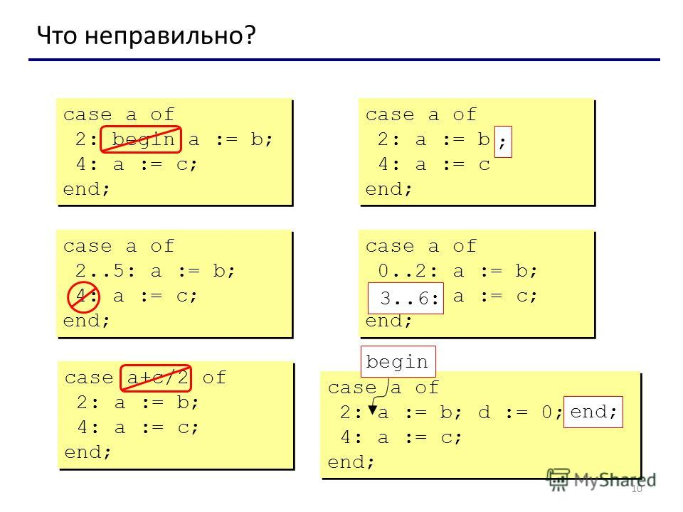 10 Что неправильно? case a of 2: begin a := b; 4: a := c; end; case a of 2: begin a := b; 4: a := c; end; case a of 2: a := b 4: a := c end; case a of 2: a := b 4: a := c end; ; case a of 2..5: a := b; 4: a := c; end; case a of 2..5: a := b; 4: a :=