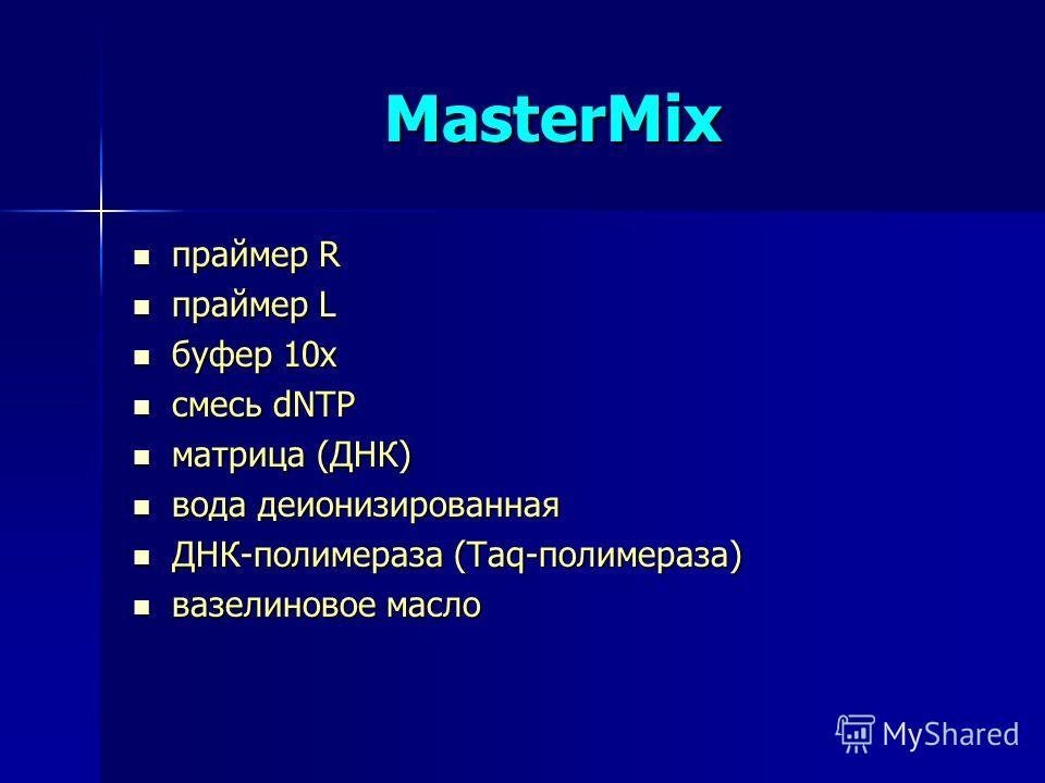 MasterMix праймер R праймер R праймер L праймер L буфер 10х буфер 10х смесь dNTP смесь dNTP матрица (ДНК) матрица (ДНК) вода деионизированная вода деионизированная ДНК-полимераза (Taq-полимераза) ДНК-полимераза (Taq-полимераза) вазелиновое масло вазе