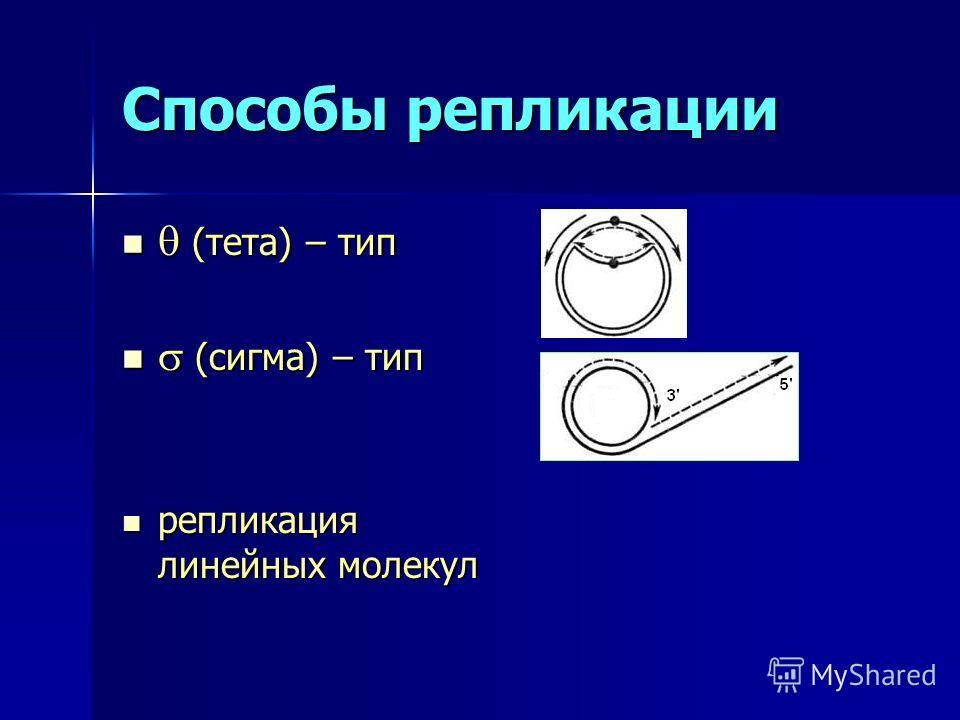 Способы репликации (тета) – тип (тета) – тип (сигма) – тип (сигма) – тип репликация линейных молекул репликация линейных молекул