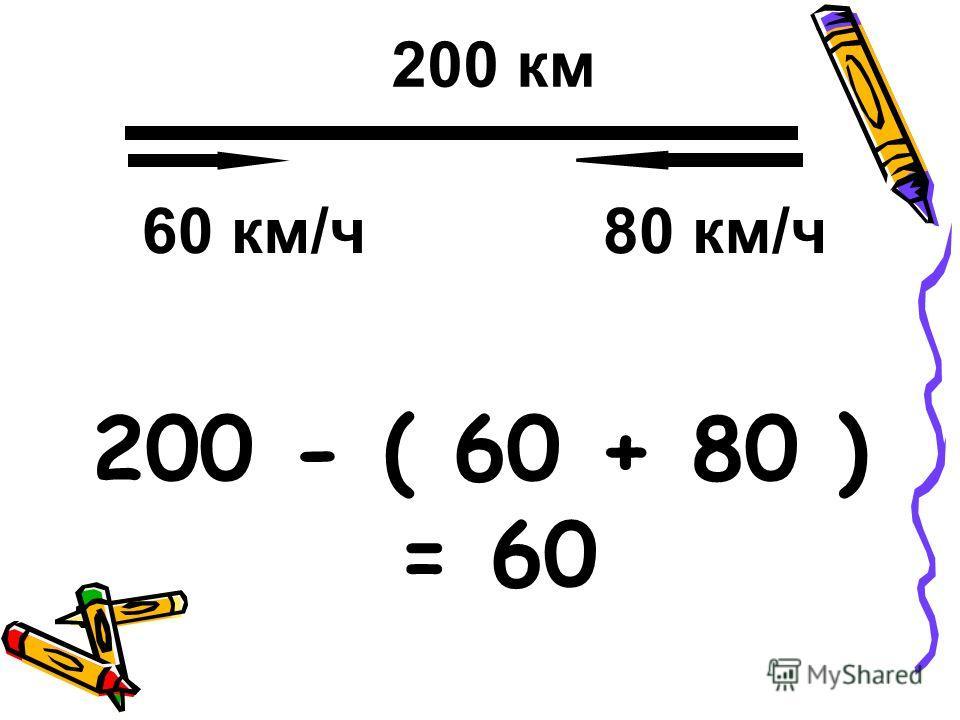 200 - ( 60 + 80 ) = 60 200 км 60 км/ч80 км/ч