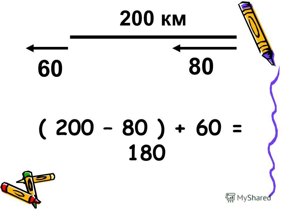( 200 – 80 ) + 60 = 180 200 км 60 80